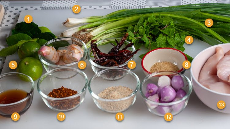 Ingredients for Chicken Larb or Laab Gai