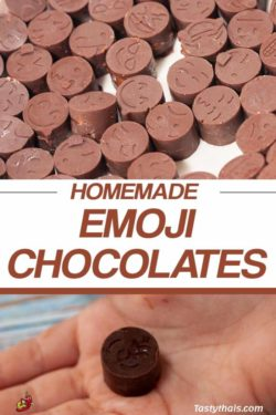 Little childrens homemade chocolate emojis taste great and are fun to make too