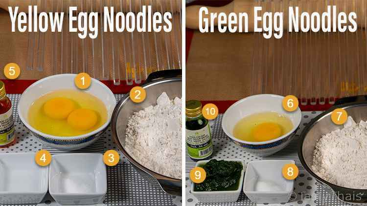 Ingredients you'll need for Thai Style Homemade Egg Noodles