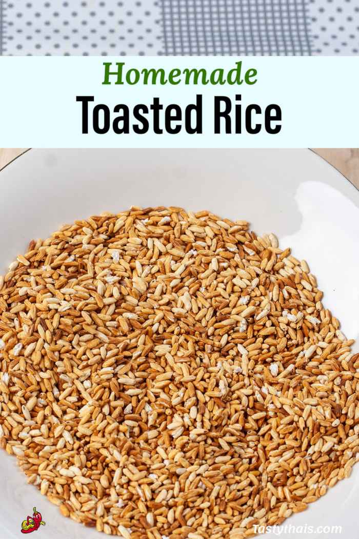 Toasted Rice ready for grinding into roasted rice powder
