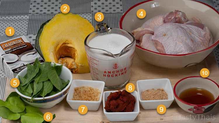 Thai Coconut Chicken Curry Recipe with Pumpkin Ingredients