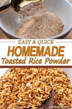 Beautiful toasted rice turned into tasty nutty roasted rice powder