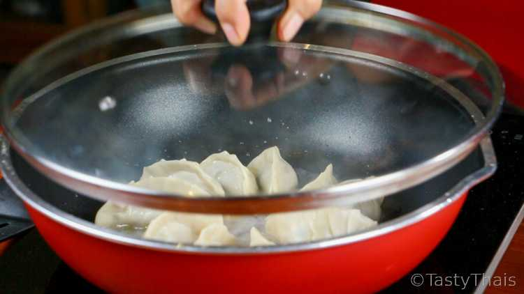 Pan fry - Steam the gyoza in a skillet with the lid on