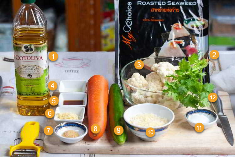 Photo of Ingredients needed for low carb sushi with cauliflower rice