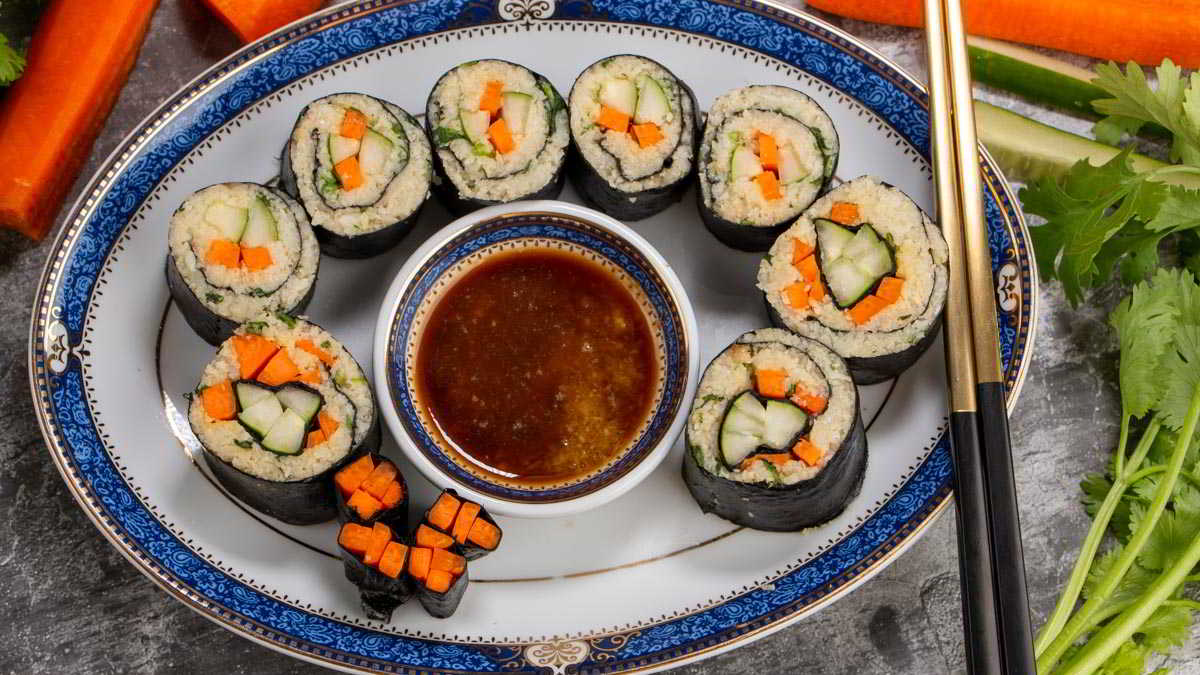 Delicious and Healthy Low Carb Sushi Served