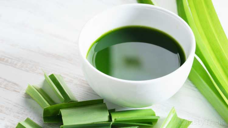 Pandan leaves are crushed to make a vivid green food coloring