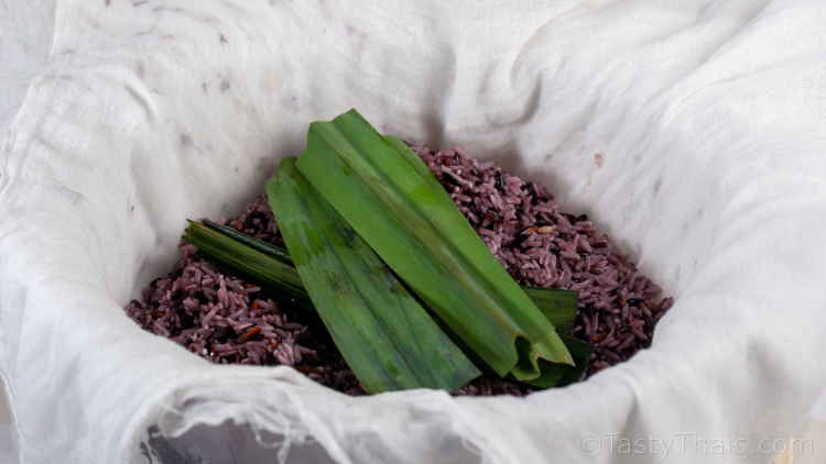 Pandan leaves added for nice aroma to steamed rice
