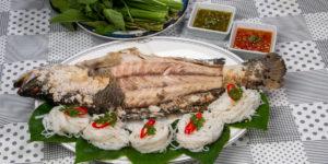 Salt basked Fish Served with Rice Noodles