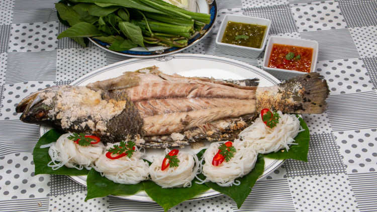 Salt basked Fish Served with Rice Noodles
