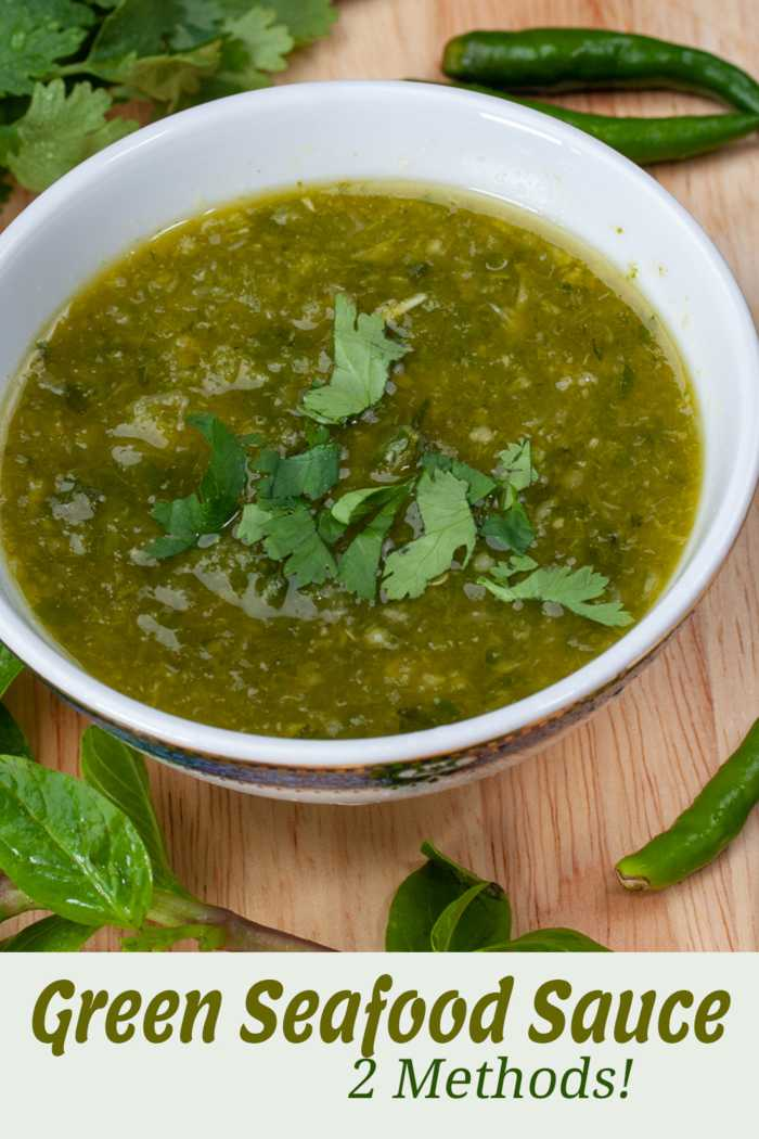 Green & Herby Thai Seafood Dipping Sauce Vertical Image