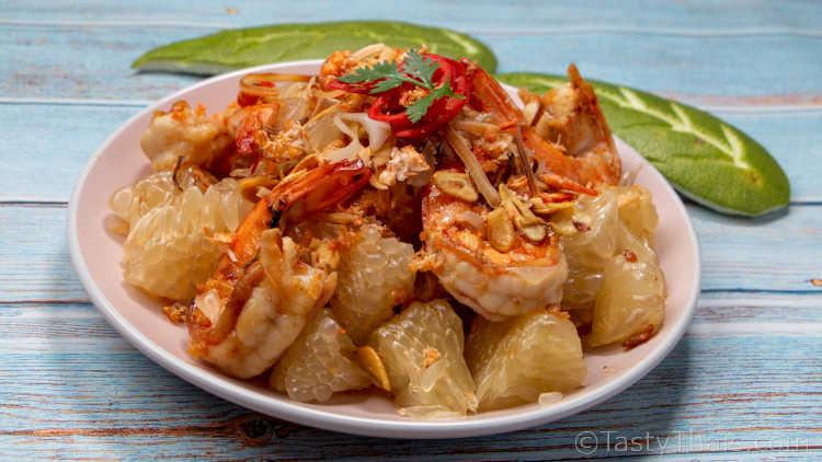 Yum Som O - Favorite Thai Savory Salad Made with Pomelo