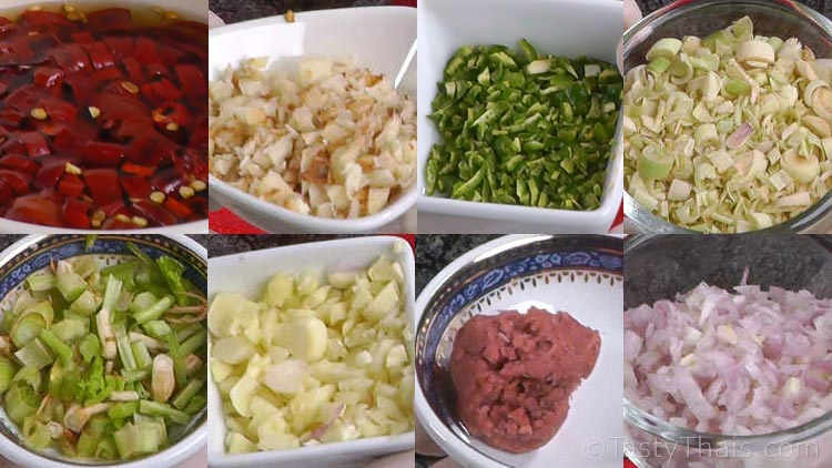 Various prepared ingredients needed to make red curry paste