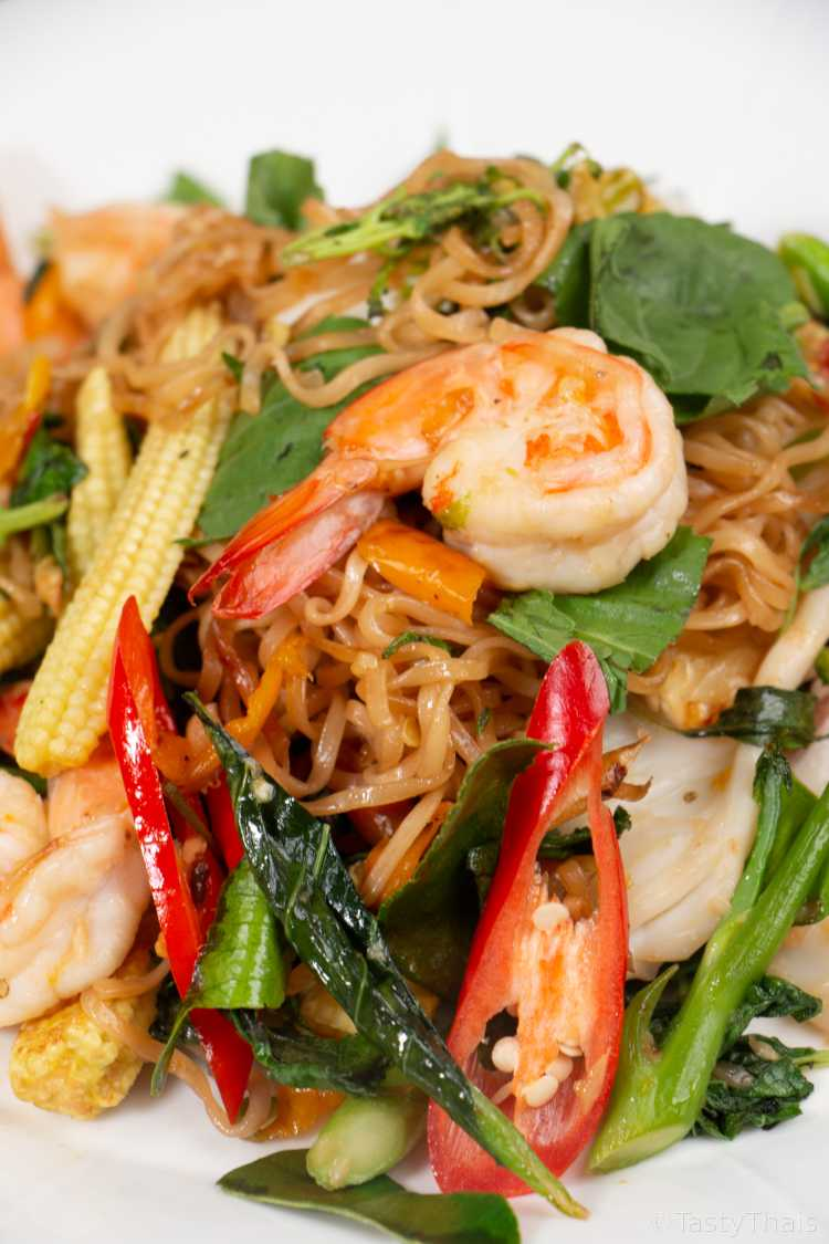 Drunken Noodles or Pad Kee Mao served