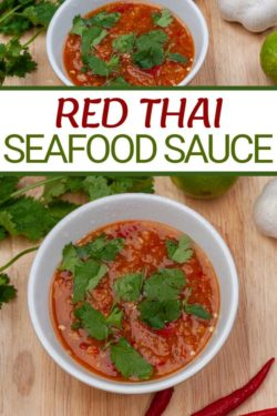 Photo of red Thai spicy seafood dipping sauce