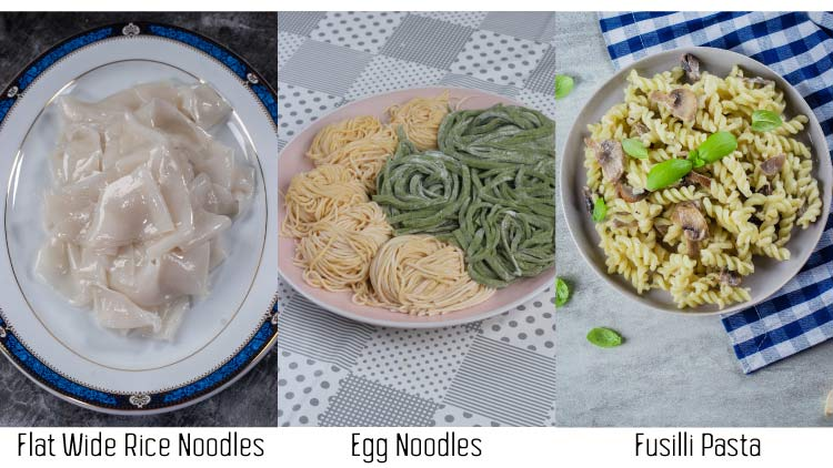 Collage of egg noodles, rice noodles and pasta