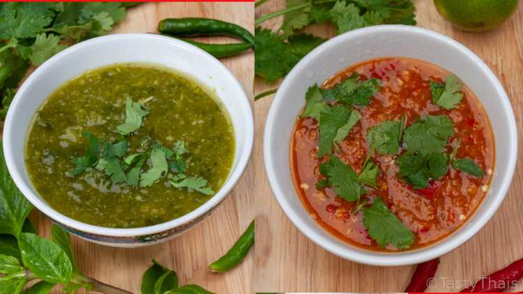 Green and red Thai Seafood Dipping Sauces Side by Side